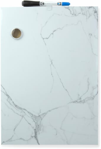 U Brands Marble Frameless Magnetic Dry Erase Board - White/Gray Perspective: front