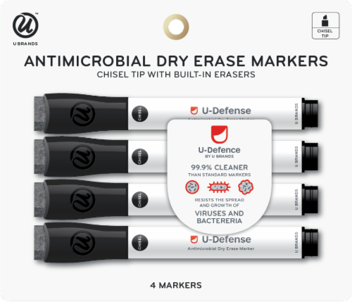 U Brands Antimicrobial Dry Erase Markers - Black Perspective: front