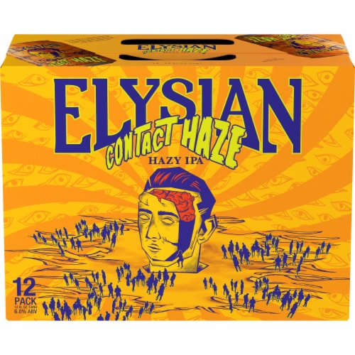 Elysian Brewing Company Contact Haze Hazy IPA Perspective: front