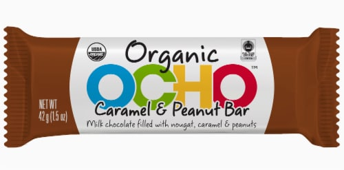 OCHO Organic Caramel & Peanut Butter Milk Chocolate Bar Perspective: front