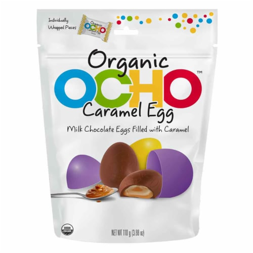 OCHO Organic Milk Chocolate Eggs Filled with Caramel Perspective: front