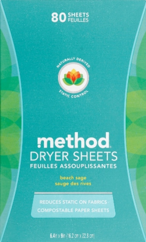 Method Beach Sage Dryer Sheets Perspective: front