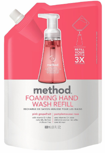 Method Pink Grapefruit Foaming Hand Wash Refill Perspective: front