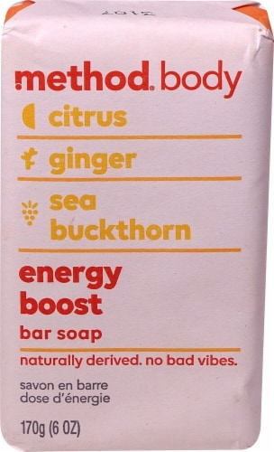 Method Body Energy Boost Citrus Ginger & Sea Buckthorn Bar Soap Perspective: front
