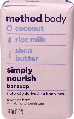 Method Body Bar Soap Simply Nourish Coconut Rice Milk Shea Butter Perspective: front