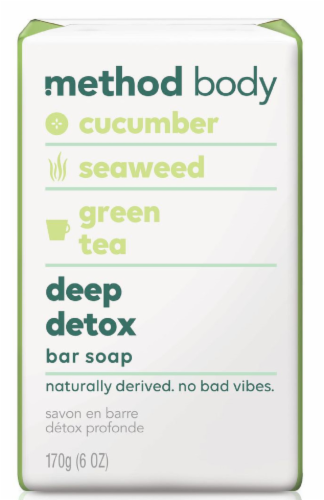 Method Body Deep Detox Cucumber Seaweed Green Tea Bar Soap Perspective: front