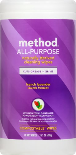 Method All Purpose French Lavender Compostable Cleaning Wipes Perspective: front