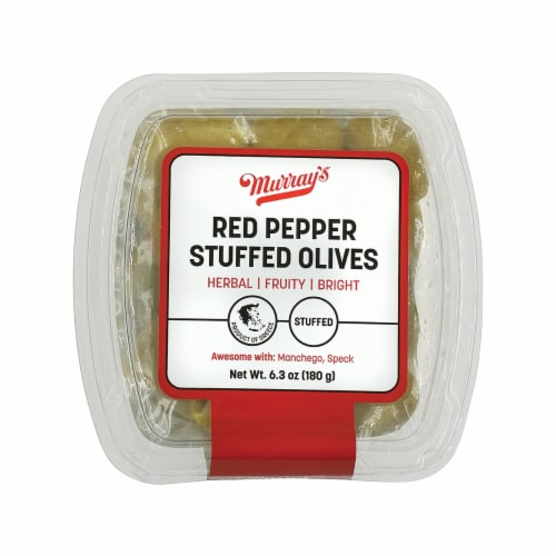 Murray's Red Pepper Stuffed Olives Perspective: front