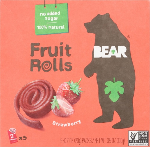 Bear Real Fruit Gluten-Free Strawberry Yoyos Fruit Rolls Perspective: front