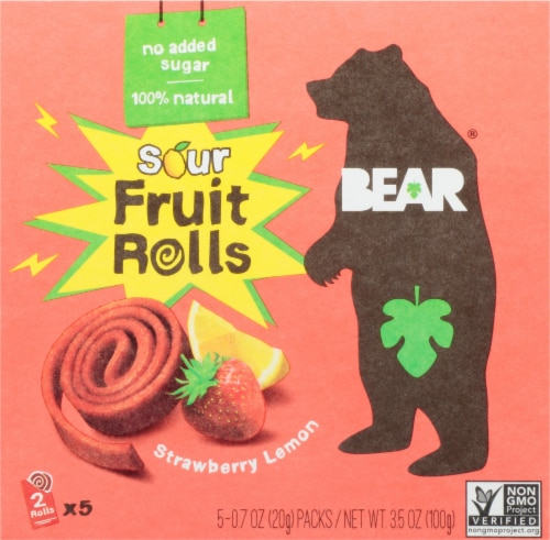 BEAR Super Sour Strawberry and Apple Fruit YoYos - .7 oz Perspective: front