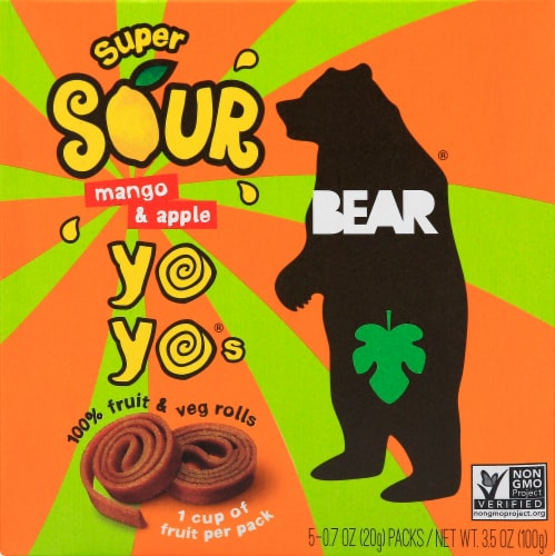 BEAR Real Fruit YoYos Fruit and Veg Rolls - Sour Mango and Apple - .7 oz Perspective: front