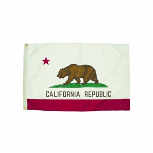 Durawavez Nylon Outdoor Flag with Heading & Grommets, California, 3ft x 5ft Perspective: front