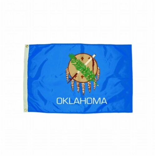Durawavez Nylon Outdoor Flag with Heading & Grommets, Oklahoma, 3ft x 5ft Perspective: front