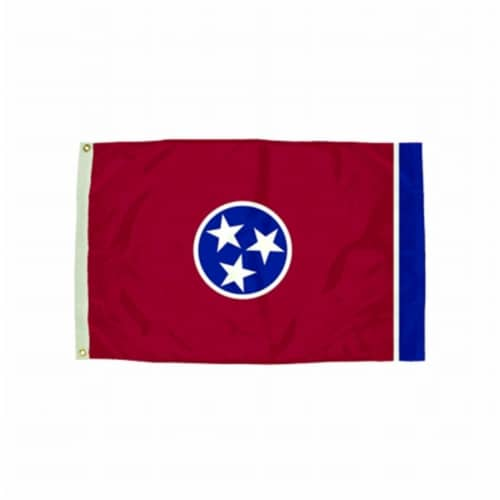 Durawavez Nylon Outdoor Flag with Heading & Grommets, Tennessee, 3ft x 5ft Perspective: front