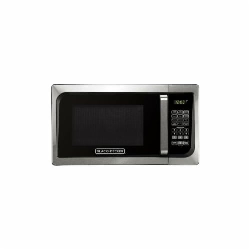 BLACK + DECKER EM925AJK-P1 0.9 cu. ft. Pull Handle Microwave, Stainless Steel Perspective: front