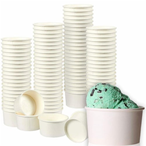 Ice Cream Sundae Cups, Disposable Dessert Bowls (White, 8 oz, 100 Pack) Perspective: front