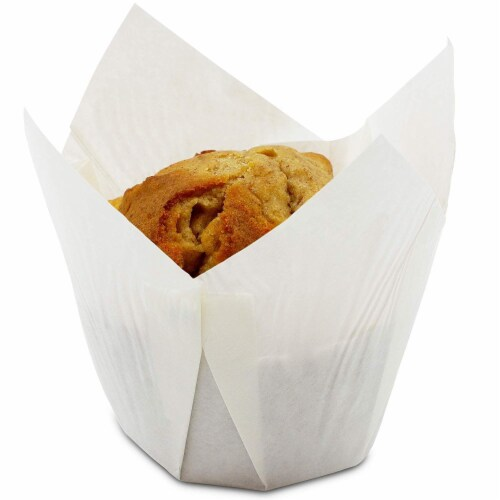 Tulip Muffin Wrappers, Cupcake Paper Liners (White, 100 Pack) Perspective: front