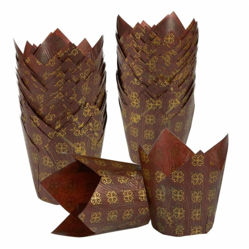 "100-Pack Tulip Paper Cupcake Liners for Muffin Baking - Brown & Gold Prints, 2.2"" Diameter Perspective: front"
