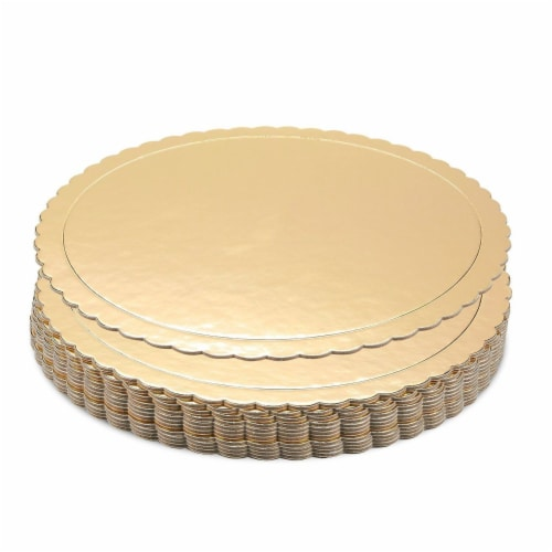 "12-Pack Round Cake Boards Cardboard Gold Scalloped Circle Base, 10"" Diameter Perspective: front"