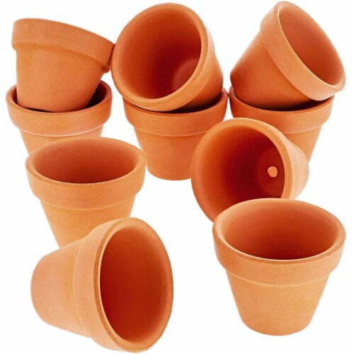 Juvale 10-Count Mini Terra Cotta Flower Pots - Ceramic Pottery Clay Planters Perspective: front