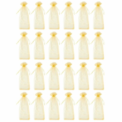 24-Pack Gold Satin Drawstring Wine Wrapping Bags Bottle Gift Bag for Display Perspective: front