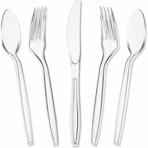 Juvale 80-Piece Clear Disposable Plastic Cutlery Set, BPA Free and Food Grade Perspective: front