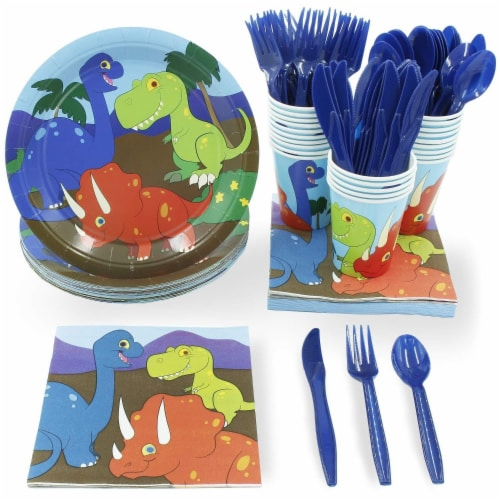 Dinosaur Party Dinnerware Set, Plates, Cutlery, Cups, and Napkins (Serves 24, 144 Pieces) Perspective: front