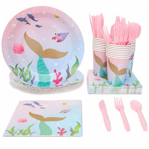 Pink Mermaid Dinnerware Set, Plates, Cutlery, Cups, and Napkins (Serves 24, 144 Pieces) Perspective: front