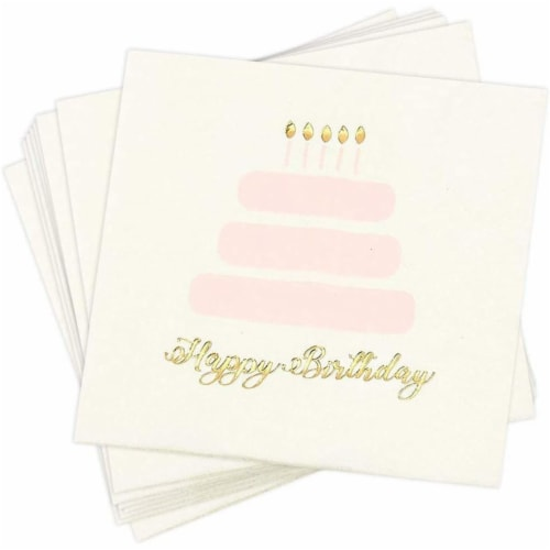 Happy Birthday Party Decorations, Cake Napkins with Gold Foil (50 Pack) Perspective: front