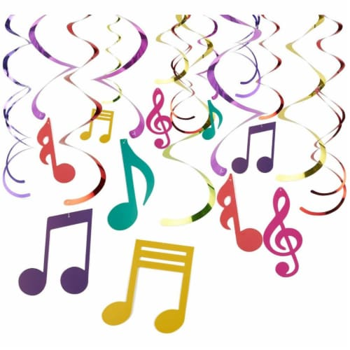 30 Pieces Swirl Decorations,  Music Decor Party, Hanging Musical Note Whirls Perspective: front