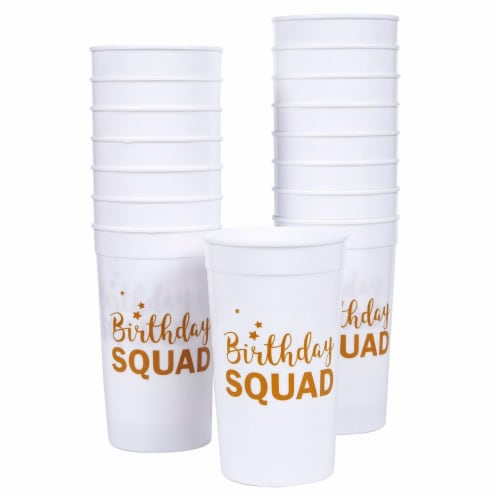 Blue Panda Birthday Squad Plastic Party Cups, 16 Oz White Tumblers (3 x 5.1 x 3 in, 16-Pk) Perspective: front