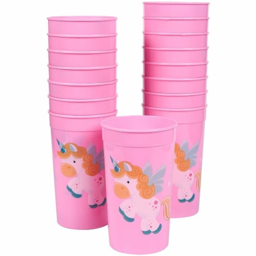 Pink Plastic Tumbler Cups for Unicorn Party (16 oz, 16 Pack) Perspective: front