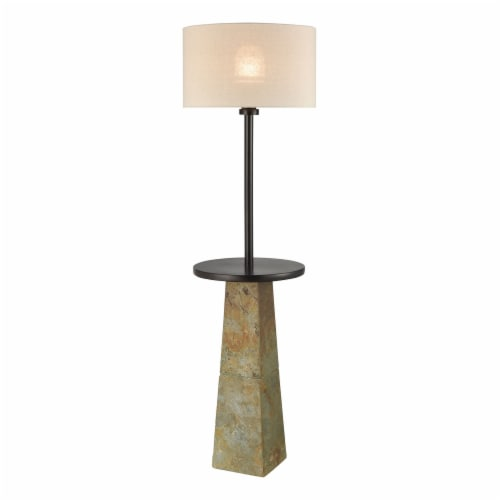 Musee Outdoor Floor Lamp in Slate and Bronze with a Light Grey Linen Shade Perspective: front