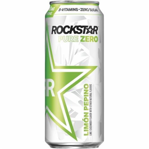 Rockstar Pure Zero Lime Cucumber Sugar Free Energy Drink Perspective: front