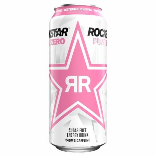 Rockstar Pure Zero Watermelon Kiwi Sugar Free Energy Drink Perspective: front