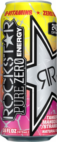 Rockstar Pure Zero Tangerine Mango Guava Strawberry Flavored Energy Drink Perspective: front