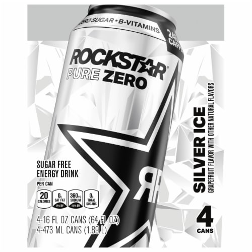 Rockstar Pure Zero Silver Ice Energy Drink Perspective: front
