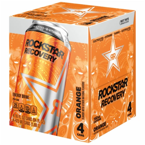 Rockstar Recovery Orange Energy Drink Perspective: front