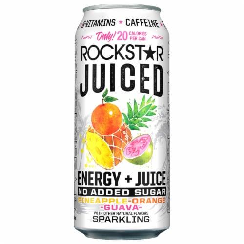 Rockstar Juiced Pineapple Orange Guava Energy Drink Perspective: front