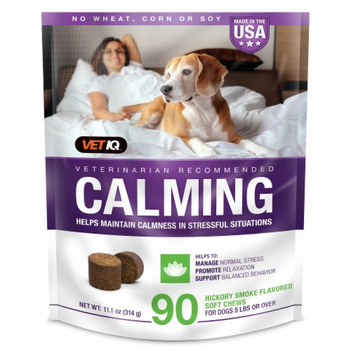 VetIQ Calming Hickory Smoke Flavored Soft Dog Chews Perspective: front