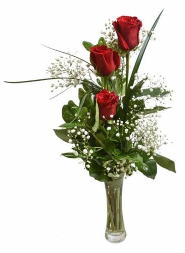Triple Rose Bud Vase Arrangement Perspective: front