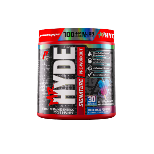 Pro Supps Mr. Hyde Blue Razz Popsicle Signature Pre-Workout Dietary Supplement Perspective: front