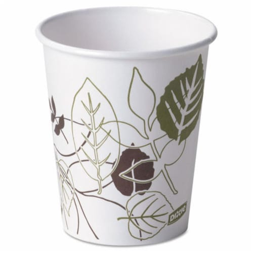 Dixie DXE2340PATH 10 oz Pathways Paper Hot Cups Perspective: front