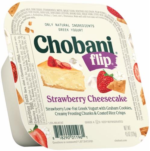 Chobani Flip Strawberry Cheesecake Low Fat Greek Yogurt Perspective: front