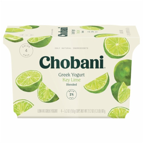 Chobani Key Lime Blended Low-Fat Greek Yogurt 4 Count Perspective: front