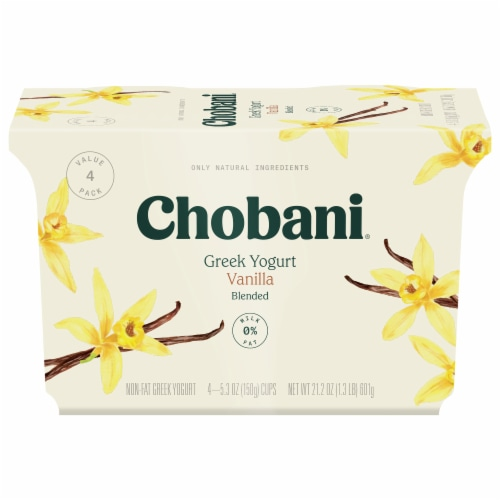 Chobani Blended Vanilla Greek Yogurt 4 Count Perspective: front