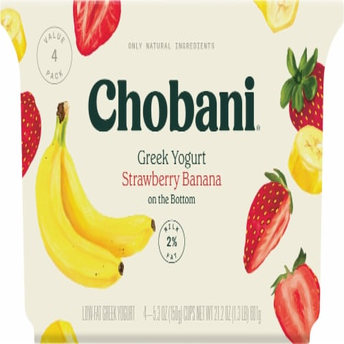 Chobani Strawberry Banana on the Bottom Low-Fat Greek Yogurt Perspective: front