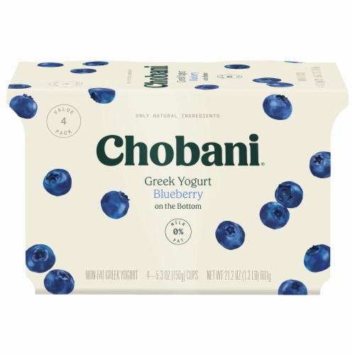 Chobani Blueberry on the Bottom Greek Non-Fat Greek Yogurt Perspective: front