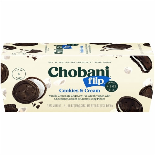 Chobani Flip Cookies & Cream Low-Fat Greek Yogurt Perspective: front