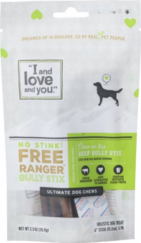 I and Love and You  No Stink! Free Ranger Beef Bully Stix Perspective: front